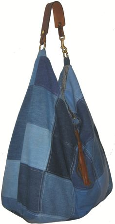 Sew a Patchwork Denim Recycled Purse Tote Bag Eco-friendly Recycle...
