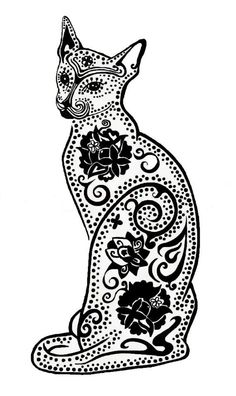 Archival print of my original pen and ink drawing/illustration of a Day of the Dead Kitty. Epson pigmented inks are used for the best ink quality in Cat Skeleton, Skeleton Drawings, Sugar Skull Cat, Cat Tattoo Designs, Cat Colors, Stencil Designs, Coloring Book Pages, Diy Arts And Crafts, Pictures To Draw