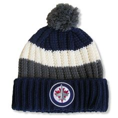 4e7448258d334 Men s Winnipeg Jets Red Jacket Navy Slope Cuffed Pom - Knit Hat