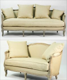 This French-inspired and hand stitched sofa and loveseat presents a country charm in natural cream beige linen color with its slightly flared legs. In natural oak wood finish. It also features down fill cushions for optimal comfort and includes throw pillows for easy matching. Rustic Wood Furniture, French Country Furniture, Sofa And Loveseat Set, Couch, Country Charm, Hollywood Regency, Living Room Sets, Classic Style, Love Seat