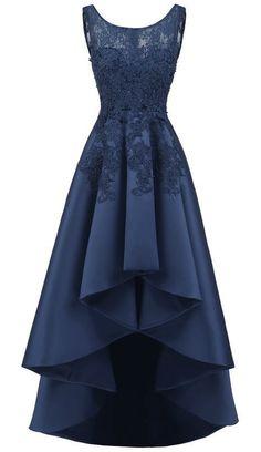 long prom dresses - Women's Elegant Sleeveless Lace High Low Prom Dress High Low Prom Dresses, Formal Evening Dresses, Trendy Dresses, Evening Gowns, Fashion Dresses, Elegant Formal Dresses, Dress Formal, High Low Gown, Formal Prom