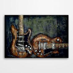 Guitar wall art,  Music art,  Original textured guitar painting by Magda Magier