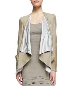 B2G1R Donna Karan Draped Lambskin Leather Jacket with Jersey Panels