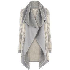 OASIS Geo Shearling Drape Cardi found on Polyvore