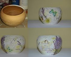 Flower pot decorated with decoupage - Lavender Flower Pots, Flowers, Furniture Restoration, Diy Stuff, Decoupage, Planter Pots, Lavender, Wedding Decorations, Shabby Chic