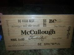 McCullough family pyrography