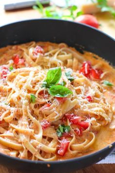 Roasted Red Pepper Fettuccine with Cream Feta Sauce! Taste like a restaurant quality pasta dish - but only a few ingredients! Pasta Perfection!