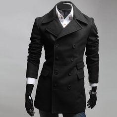 Fashion Men Military Long Winter Coat Jacket Parka Trench Overcoat Peacoat XS L | eBay Christmas money!!!!