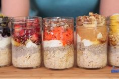 Wake up to an already prepared healthy breakfast every morning with these five incredible overnight oats recipes. See how to make them in this easy tutorial now! Easy Overnight Oatmeal Recipe, Overnight Oats In A Jar, Oatmeal In A Jar, Biscuits, Meals In A Jar, Oatmeal Recipes, Food To Make, Breakfast Recipes, Food And Drink