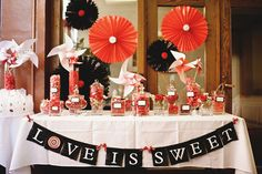 red, black white sweet table