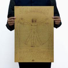 Leonardo da Vinci manuscript Vitruvian Man Vintage old Paper Poster Retro Wall antique sticker Home Decoration Painting * Learn more by visiting the image link. #HomeDecor