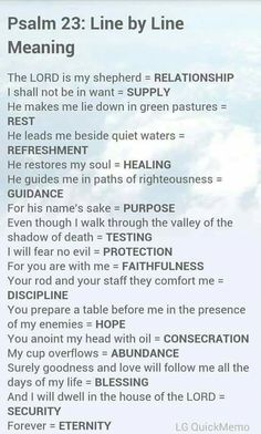 Psalm 23 line by line meaning explanation