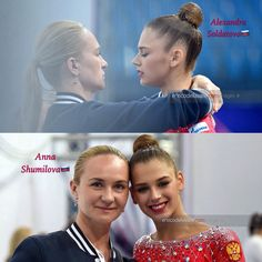 Alexandra SOLDATOVA with her coach Anna SHUMILOVA after her clubs routine  @ the World Cup  Pesaro-Italia 2017
