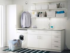 Organized Laundry Room Decor Ideas to Steal from IKEA Laundry Cupboard Laundry Detergent Laundry Hacks Ikea Laundry Room, Laundry Room Shelves, Laundry Room Cabinets, Ikea Cabinets, Small Laundry Rooms, Laundry Room Organization, Laundry Room Design, Base Cabinets, Laundry Sorter