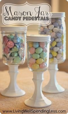 DiY Mason Jar Candy Pedestals--so cute & super easy (and CHEAP) to make using mason jars & dollar store candlesticks! Swap out candy to use for different holidays DIY Mason Jar Candy Pedestals Mason Jar Projects, Mason Jar Crafts, Crafts With Jars, Wine Bottle Crafts, Wine Bottles, Dollar Store Crafts, Dollar Stores, Easter Crafts, Holiday Crafts