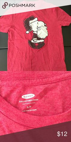 Nwot snoopy Santa Claus peanuts small t-shirt New without tags men's small Old Navy collectibles 18 inches pit to pit and 26 in length Old Navy Shirts Tees - Short Sleeve