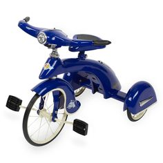 This dark blue tricycle is sure to be the hit of the party. All the other kids will try to take a ride on This awesome new trike! Make heads turn with this beautiful dark blue sky king junior trike by Sky Bike, Custom Trikes, Little Tykes, Drift Trike, Kids Ride On, Ride On Toys, Futuristic Cars, Pedal Cars, Retro Toys