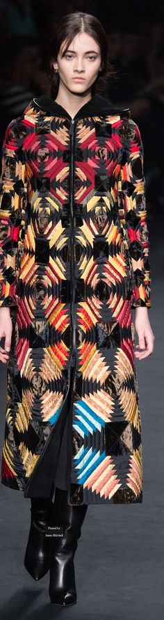 Valentino Collections Fall Winter 2015-16 collection. Pineapple log cabin design coat.