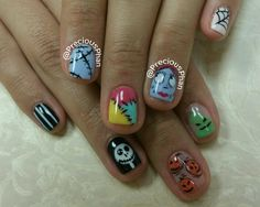 The Nightmare before Christmas nails. Halloween nails. #PreciousPhanNails