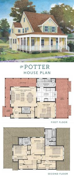 The Potter House Plan is a sweet Victorian cottage that pairs all the grace of 19th-century design with an updated floor plan. 3 Bedrooms / 3 Bathrooms / 2030 sq. ft. / Tim Barber House & Home and Tim Barber ltd. / #HousePlan #FloorPlan