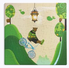 Life is full of ups and downs. All you can do is ride along. A whimsical yet durable puzzle perfect for a quiet day with the kids. Puzzle measures x piecesMade of recycled paper and non-toxic dyes Recommended for ages & printed in Greece Ride Along, Puzzles For Kids, All You Can, Be Still, Fairy Tales, Whimsical, Print Design, Recycling, Christmas Ornaments