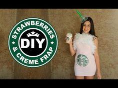 DIY Easy Halloween Costume: Starbucks Strawberries & Creme Frappucino - YouTube