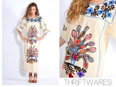 vtg-70s-cream-EMBROIDERED-PEACOCK-boho-hippie-mexican-festival-MAXI-dress