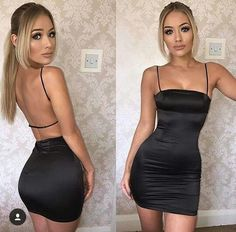 Details about Women Fashion Spaghetti Strap Backless Solid Clubwear Casual Mini Bodycon Dress Mode Outfits, Night Outfits, Sexy Outfits, Fashion Outfits, Womens Fashion, Dress Fashion, Ladies Fashion, Clubbing Outfits Classy, Fashion Blouses