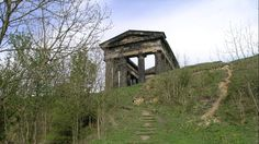 The Penshaw Monument. England Also known as the Earl of Durham's Monument, the Penshaw monument is a 70 foot high replica of the Temple of Hephaestus in Athens. From April to September, visitors are allowed to use a hidden spiral staircase to climb to the top of the monument.
