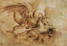 Leonardo da Vinci - Fight between a dragon and a lion