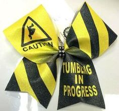 Caution Tumbling in Progress Black and Neon Yellow Glitter Cheer Bow