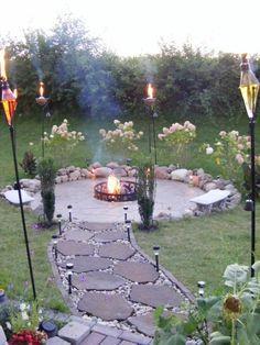 feuerstelle, garten, feuerschale, hocker, stein | feuerstellen im, Gartenarbeit ideen