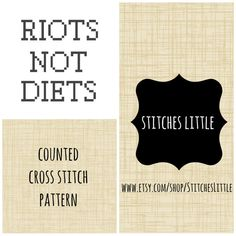 Feminist Cross Stitch Pattern  Riots Not Diets  by #StitchesLittle, $2.75
