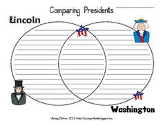 This document is a one page venn diagram. Students will use the Venn Diagram to record similarities and differences between Washington and Lincoln....