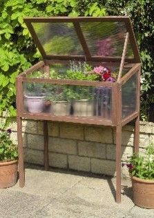 """Raised Wooden Cold Frame (2' 11 1/2"""" x 1' 7 3/4"""") for sale in U.K., but fairly easy to duplicate"""