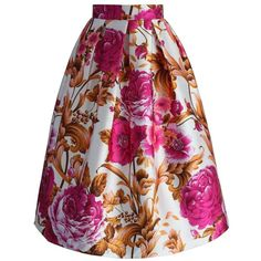 Chicwish Luxurious Blossoms Printed Midi Skirt ($42) ❤ liked on Polyvore featuring skirts, pink, rose skirt, mid calf skirts, floral print skirt, knee length pleated skirt and floral print midi skirt