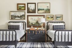 Inspired by a collection of vintage landscape paintings, designer Stephanie Sabbe created a boy's bedroom with the potential to grow with him.
