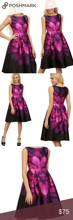 """NWT Purple Floral Satin Cocktail Dress Absolutely breathtaking rich purple floral print! This bold print is feminine and eye-catching for a stunning & elegant effect! Sleeveless. High waist, knee-length, invisible zipper back. Vintage flare & flattering pleats below waist. I had to have this dress the moment I saw it but sadly it runs a tad small for my waist  Never worn!  {Materials} 100% Satin   {Measurements} Shoulder: 14.5? Bust Size: 36? Waist Size: 30? Length: 41"""" SheIn Dresses"""