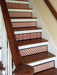 Moroccan Lattice Stair Riser, Bohemian Home Decor, Boho Decor ~ Add a completely unique and stylish element to your beautiful home with stair Painted Stair Risers, Painted Staircases, Dyi, Stair Stickers, Carpet Stairs, Boho Decor, Moroccan, Beautiful Homes, House Ideas