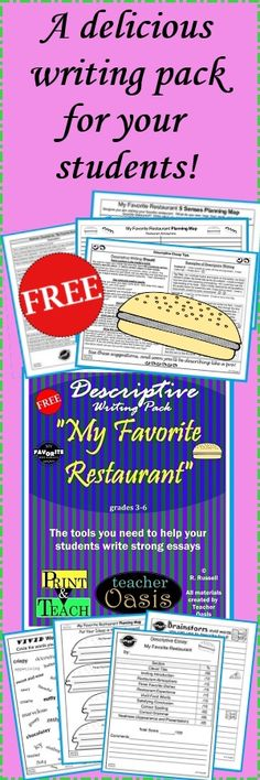 """A delicious writing pack for your students!  Everything you need to teach and assess descriptive essay writing! Includes several different types of writing paper with clip art for cute displays.  Engage your students with this writing prompt: """"My Favorite Restaurant."""" These materials are easily adaptable to meet the needs of 3rd - 6th graders. They will also reinforce the importance of using the 6+1 Writing Traits. Ready to print and teach!  From Teacher Oasis"""