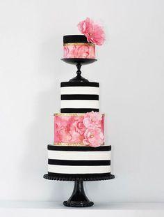 Striped Wedding Cakes   www.onefabday.com