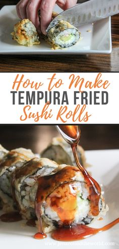 If you love making sushi at home, you will love this easy recipe for making a tempura fried sushi roll. These are crispy on the outside and soft on the inside and are perfect with my homemade eel sauce recipe. Easy Sushi Rolls, Homemade Sushi Rolls, Making Sushi Rolls, Fried Sushi, Tempura Sushi, Tempura Roll, Sushi Frito, Eel Sauce Recipe, Sushi Roll Recipes