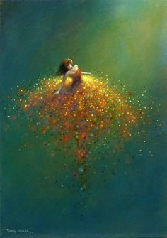 Here is a painting by Jimmy Lawlor that shows a woman spinning against a teal background as she enjoys her sparkling golden skirt. #surrealism Imaginative Realism