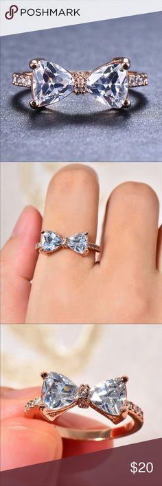 Design Decorative Rings Big Bow-knot Design Ring Rhinestone Rings Finger Ring