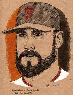Brian Wilson, sketched by Pete Scully