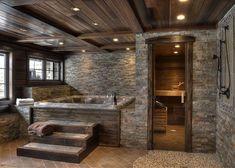 Rustic Master Bathroom, Rustic Bathroom Designs, Rustic Bathrooms, Dream Bathrooms, Cabin Bathrooms, Stone Bathroom, Dream Home Design, My Dream Home, House Design