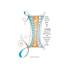 Instant Digital Download Letter I for I Know the Plans I have for You Jeremiah 29:11 Abstract Doodle Drawing Calligraphy Scripture Sky Blue