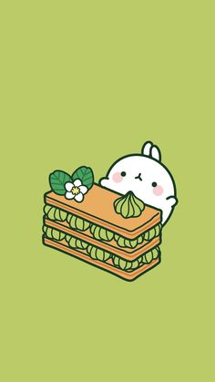 Molang green dessert wallpaper
