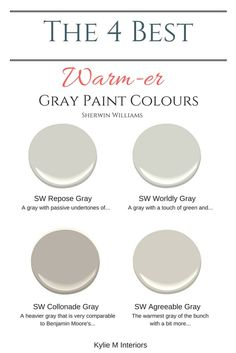 The best warm gray paint colours that are almost greige Sherwin Williams. Color Consultant Kylie M Interiors E-Design and Decor The best warm gray paint colours that are almost greige Sherwin Williams. Color Consultant Kylie M Interiors E-Design and Decor Greige Paint Colors, Interior Paint Colors, Paint Colors For Home, Paint Colours, Interior Painting, Warm Gray Paint Colors, Gray Wall Colors, Griege Paint, Fixer Upper Paint Colors