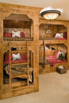 Custom built-in bunk beds - two twins over two queens with drawer steps.Cool Beds For TeensKinda like how these bunk beds are lower to the groundI love the idea of multiple bunk beds in a finished. (Cool Beds For Twins) Bunk Beds Built In, Kids Bunk Beds, Bunk Rooms, Bunk Bed Designs, Loft Spaces, My New Room, Sweet Home, Bed Ideas, Home Decor